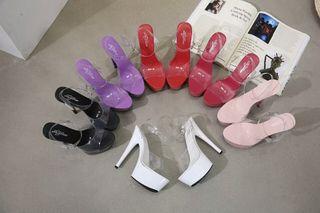Zapatos transparentes colores tacón