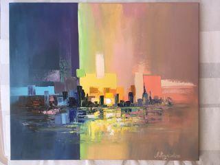 """Cuadro abstracto al óleo """"Ciudad de noche"""" 46x55"""