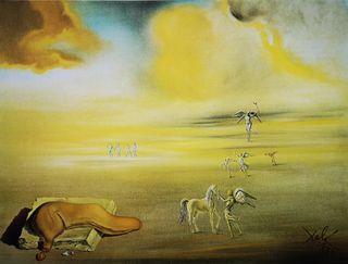Lámina Monstruo blando en paisaje angélico de Dali
