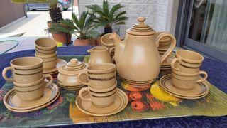 juego de café de gres de artesanía francesa