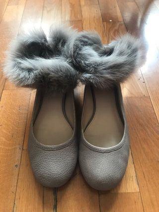 Bailarinas Uterqüe piel gris
