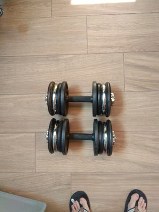Discos 48 kg, 6 barras mancuernas, step