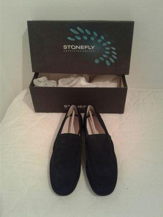 zapatos mocasin negro hombre stonefly