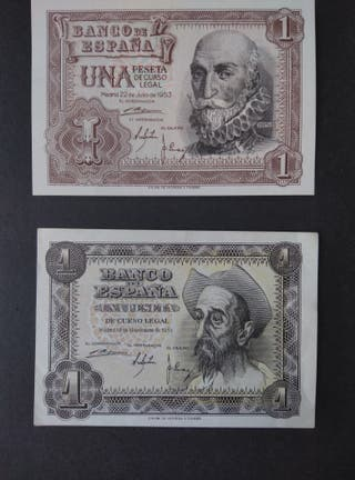 Billetes de una peseta. SC