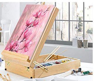 Maletín de pinturas, lienzos y caballete