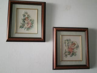 Lote de 5 cuadros y 1 espejo antiguo