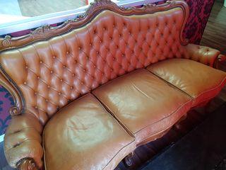 sofa chester de piel marron tres plazas