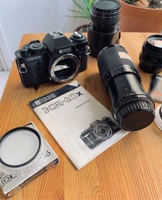 Cámara analógica Ricoh KR-10x + lentes y extras
