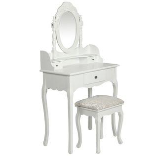 vidaXL Tocador con espejo y taburete blanco 60558