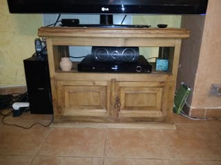 Mesa auxiliar TV rústica mexicana