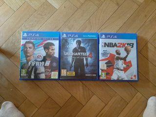 FIFA 19 , uncharted 4 , NBA 2K18