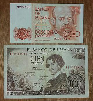 Lote billetes 100 y 200 pesetas