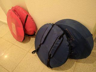 Tienda de campaña con saco de dormir