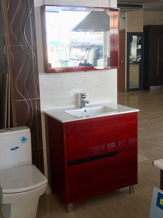 Mueble y espejo de baño, de 80