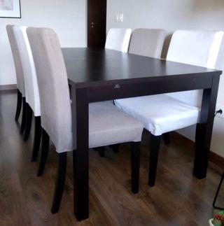 Mesa salón extensible con 6 sillas IKEA