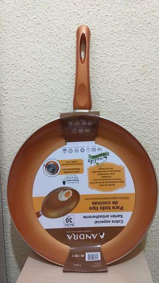 Sartén antiadherente cobre. GRANDE 30 cm nuevo