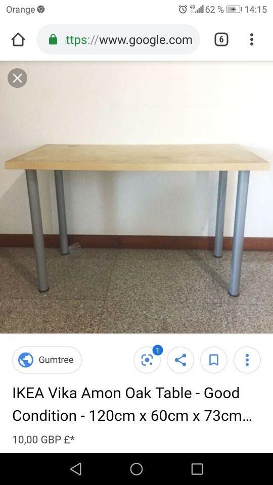 Mesa Vika Amon Ikea Tablero En Haya De Segunda Mano Por 25 En