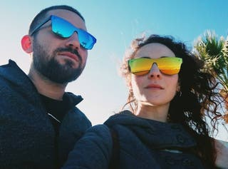 Gafas de sol efecto espejo sin marco.