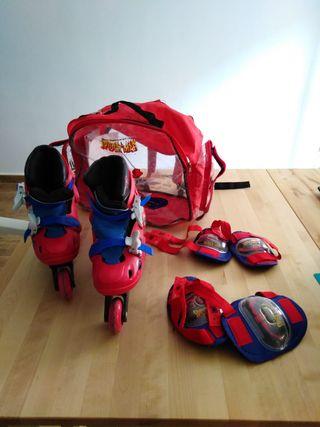 Patines niño con protecciones y bolsa transporte