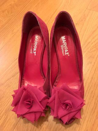Zapatos tacon fucsia oscuro abiertos por Marypaz