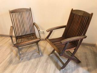 2 Sillas plegables de madera de teka. ScanCom