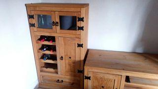 Botellero/mueble bar de madera maciza