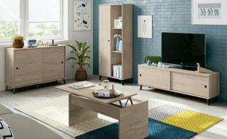 Muebles salon completo Manaslu roble y negro