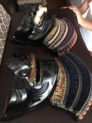 Dos Menpo o máscara de armadura samurai