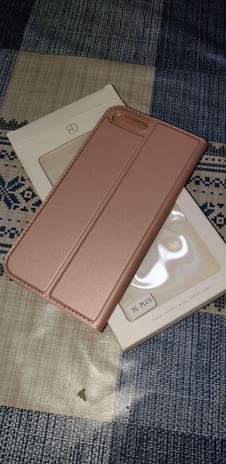 funda libro iphone 7 plus rosa