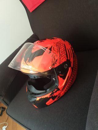 casco moto naranja