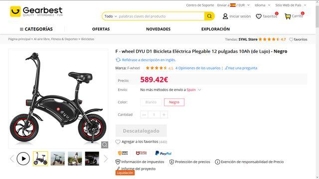 Bicicleta Electrica Plegable - 40km (A estrenar)