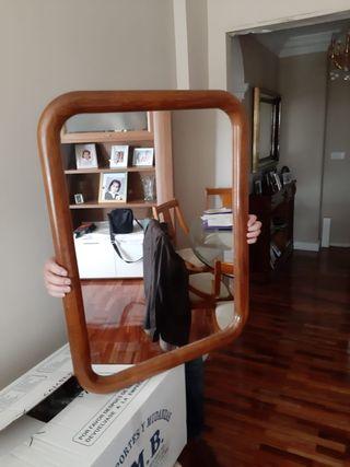 espejo grande madera color cerezo brillo