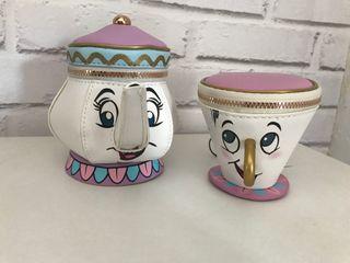 Tetera Sra.Pots y taza chip monedero Disney