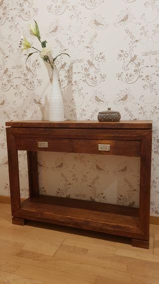 Mueble consola recibidor en madera de teka