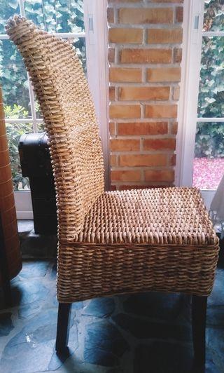 6 sillas patas de teka y fibra de coco en perfecto
