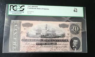billete de 20 dólares del 1864 PCGS
