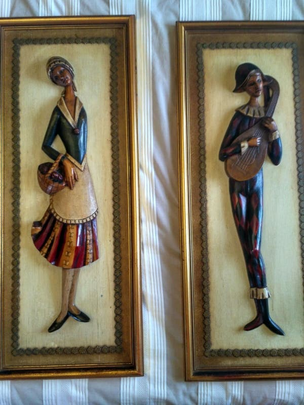Tallas de madera policromada artesanal. Año 70.