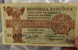 Billete vna peseta republica 1937