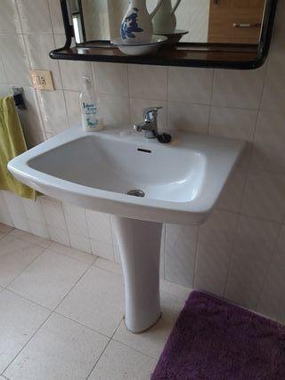 espejo baño + lavabo pedestal +grifo