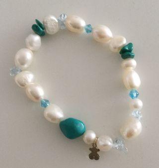 Pulsera original Tous de perlas blancas y turquesa