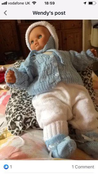 Baby hand knitted cardigan leggings hat bott
