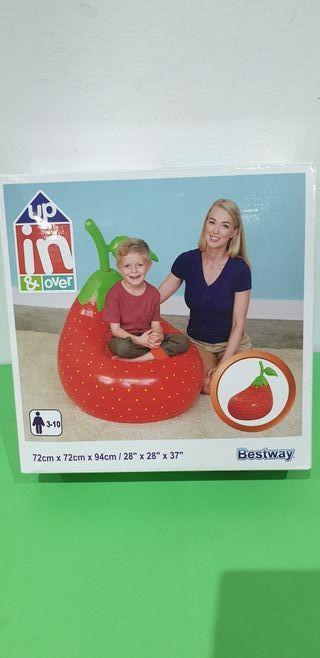 nuevo precintado puff sillón hinchable niños fresa