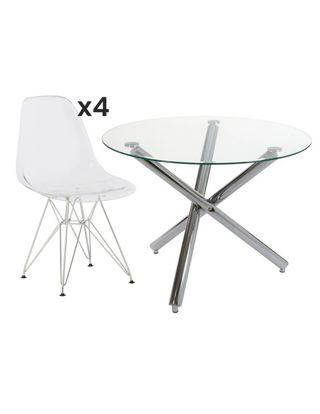 Conjunto mesa redonda de cristal y patas cromadas