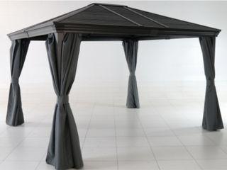 cenador, velador, carpa metálica con cortinas