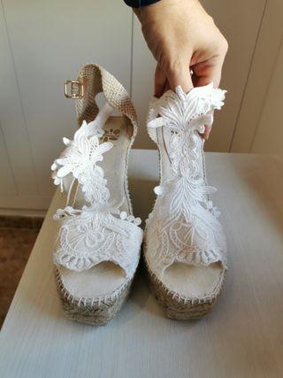 Espardeñas de novia. talla 38