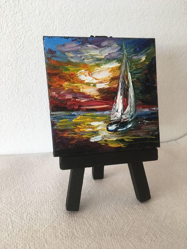 Miniatura, pintura al óleo, cuadro pequeño