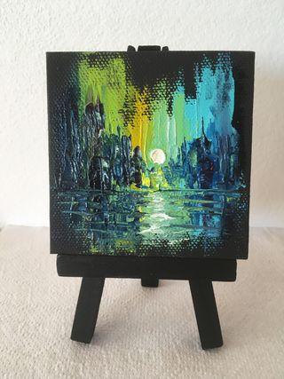 Pintura al óleo, minicuadro, miniobra artistica