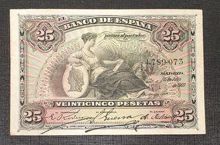 BILLETE 25 PESETAS 1906 SIN SERIE ALEGORIAS