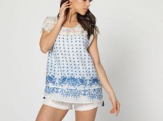 Desigual blusa en tonos azules