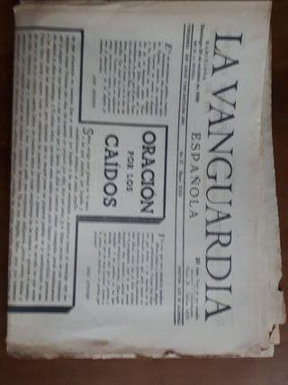 ANTIGUO PERIODICO LA VANGUARDIA: 29 OCTUBRE 1939